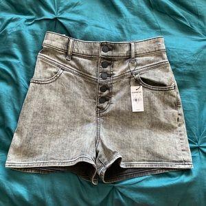 Express super high waist denim shorts in acid wash